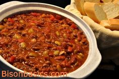 A tasty chili & baked bean style easy to make supper. Bison Recipes, Buffalo Recipe, Crockpot Recipes, Game Recipes, Food Design, Main Meals, Slow Cooker, Beans, Tasty