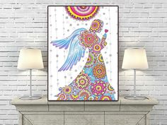 Angel Mandalas Drawing Large PRINT, Floral Beautiful Nursery art, Mandala Angel illustration, Healing Spiritual Art, Unique Zentangle Art by DHANAdesign on Etsy
