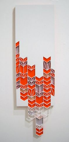 """Breaking Chevrons (2011) - """"this time things will be different"""" - solo show, denver; 8x25x1"""" (wood, paint + paper)"""