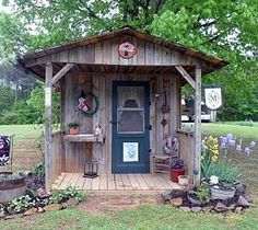 Jeannie's 'his and Hers' Garden Sheds.these are beyond cute - AND… shed design shed diy shed ideas shed organization shed plans Old Fence Wood, Old Fences, Shed Organization, Shed Storage, Cottage Garden Sheds, Home And Garden, Diy Garden, Cottage Gardens, Urban Gardening Berlin
