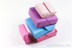 These are the instructions to make an origami flip top box, a bit like a cigarette box, store cards, crayons, pocky or candy in this box! Paper Oragami, Origami And Quilling, Kids Origami, Origami And Kirigami, Origami Ball, Origami Folding, Origami Flowers, Origami Boxes, Origami Hearts