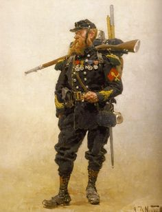 French sappers of the Chasseurs à Pied, rank and file/corporal c.Second Empire or early Third Republic. American Revolutionary War, American Civil War, Military Art, Military History, Military Uniforms, Edouard Detaille, Military Drawings, Crimean War, Man Of War
