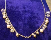 """Vintage Silver Beaded & Faux Pearl Necklace - apx 18"""" - Free Shipping!"""