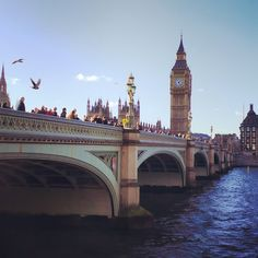 Big Ben & Westminster Bridge over the river Thames in London.. #bigben #london #clock #bridge #westminster #westminsterbridge #thames #river #capital #arch #architecture #historic #history #parliament #housesofparliament #government #royalty #landmark #bluesky #clouds #touristattraction #tourist #england #travel