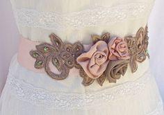 Bridal Sash Wedding Sash in Blush Pink And Tan by AGoddessDivine