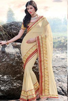 #Cream #Chiffon #Designer #Saree #nikvik  #usa #designer #australia #canada #freeshipping #dress #saris
