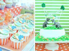 Dinosaur birthday party in orange and green via Kara's Party Ideas- www.Karaspartyideas.com