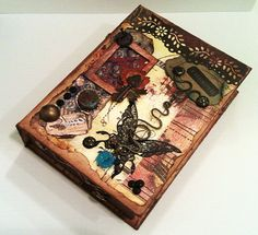 SOLD Steampunk inspired altered art book box / mixed by PeriwinkleAlley