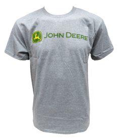 Gray John Deere Horizontal Trademark Tee Shirt