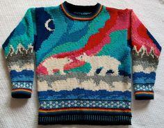 Scandi hand knit. Nordic. Polar bears. Talent. Pink, aqua, blue, red. Wow!