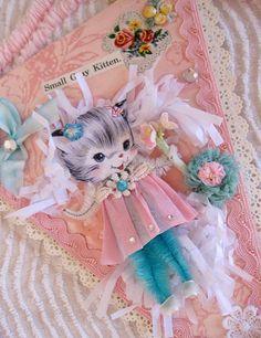 Vintage Style Pink Whimsical Kitty Keepsake by saturdayfinds