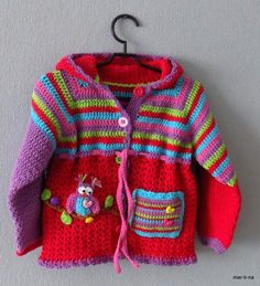 Boy Crochet Patterns, Chunky Knitting Patterns, Baby Patterns, Baby Girl Crochet, Crochet Baby Clothes, Crochet For Kids, Crochet Cardigan Pattern, Crochet Jacket, Knit Crochet