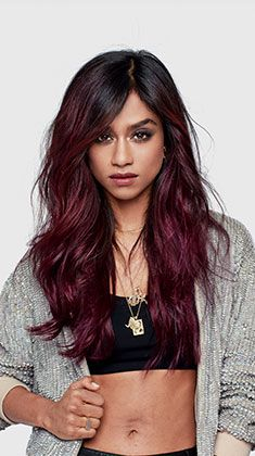 burgundy ombre. Dark black brown to burgundy maroon wine color hair. A soft fade. Beautiful! Long wavy hair. Edgy.