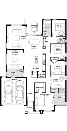 Monterey 32 & 33 home design listed by Henley. View the display home locations, choose your floor plan size and house facade for your dream home. Australian House Plans, Australian Homes, Dream House Plans, House Floor Plans, Dream Houses, Tiny Houses, Henley Homes, Creating A Vision Board, House Yard