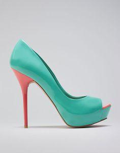 berskha peep toe combinado  #shoes #blue #charol #fashion