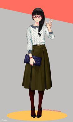 Pull en laine et jupe longue verte foncée