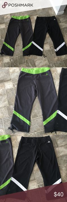 2 piece bundle Green pair is new and never worn. Black and white pair has been worn once - and there is a flaw in the very bottom of one leg, as pic shows. This is why I can discount more for this pair. It's not really noticeable and it's still a great pair of crops for the gym. Both size large. Adidas Pants Ankle & Cropped