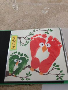 Owl Footprint Art...could be something the Owls class makes for craft one day to frame and hang around the kids area! Summer crafts. Footprint Art.  Toddler Crafts.  Preschool