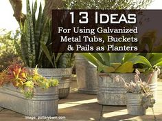 13 Ideas For Using Galvanized Metal Tubs, Buckets And Pails As Planters - Plant Care Today Galvanized Planters, Galvanized Metal, Garden Planters, Container Flowers, Container Plants, Container Gardening, Organic Gardening, Gardening Tips, Metal Tub