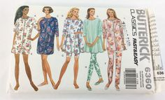 Butterick Sewing Pattern 6360 Misses Miss Petite Pajama and Nightshirt Size XS-L Cut  Pattern has been cut for a size large all pieces and instructions are included.  Loose fitting top or nightshirt has dropped shoulders and above elbow or long sleeves. Narrow hem. Purchased trim.  A, B and C side slits, D pullover flared.  Shorts, pants and leggings have elastic waistband. E and F stitched hems. G and H no side seams and purchased trim..