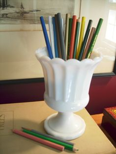 vintage milk glass scalloped urn REDUCED by stuartroadvintage, $10.95