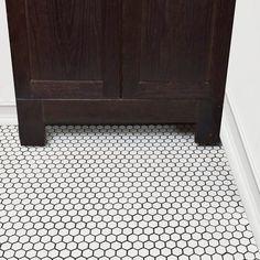 Merola Tile Metro Hex Matte White Porcelain Mosaic Tile - 3 in. x 4 in. Tile - The Home Depot Hexagon Tile Bathroom, Hex Tile, Hexagon Tiles, Bathroom Flooring, Penny Tile, Entryway Flooring, Mosaic Wall, Mosaic Tiles, Wall Tile