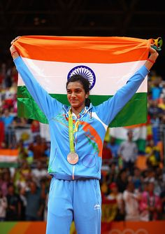 Silver medalist V Sindhu Pusarla of India celebrates during the medal ceremony…