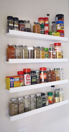 Ribba photo shelves from Ikea are available in black and white; - Ikea DIY - The best IKEA hacks all in one place Spice Shelf, Spice Storage, Spice Organization, Home Organisation, Spice Racks, Organizing, Storage Shelves, Ikea Spice Rack Hack, Stamp Storage