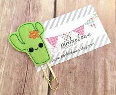 Green/Gold/Kawaii Cactus/Felt Applique Paper Clip/Planner Clip/Bookmark/Journal Marker by pinkiebows on Etsy