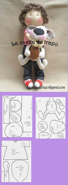 Amazing Home Sewing Crafts Ideas. Incredible Home Sewing Crafts Ideas. Doll Crafts, Sewing Crafts, Sewing Projects, Softies, Doll Patterns Free, Free Pattern, Dog Pattern, Clothes Patterns, Doll Tutorial