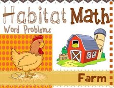 "Addition: ""Habitat Math"" Differentiated Interactive Word Problems / Differentiate your lessons with these cut and paste word problems. Students cut/paste (or draw) farm animals to create simple word problems. (Includes bonus B/W set. Teaching Kindergarten, Teaching Resources, Teaching Ideas, Teaching Main Idea, Math Word Problems, Animal Habitats, Down On The Farm, Common Core Math, Cut And Paste"