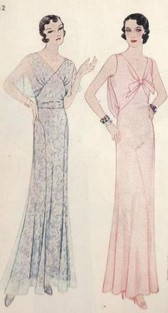 Evening gown sewing pattern, ca. 1930s