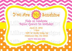 You Are My Sunshine Birthday Party by LillianHopeDesigns on Etsy, $10.00