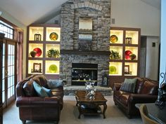 Need mantel on fireplace ..... allows the creation of a more interesting focal point.