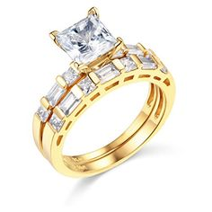 14k Yellow Gold SOLID Engagement Ring and Wedding Band 2 Piece Set  Size 85 * Want to know more, click on the image.