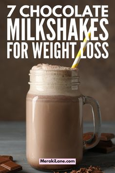 21 Healthy Milkshake Recipes for Weight Loss | If you're hunting for a thick and creamy milkshake that will satisfy your sweet tooth without derailing your clean eating goals, this post will inspire you. From chocolate, to peanut butter, to fruity favorites like strawberry, banana, cherry, and mango, we've included tons of easy recipes that won't ruin your diet. This post includes low calorie and low carb keto recipes, as well as no banana and vegan options! Healthy Chocolate Milkshake, Blueberry Milkshake, Peanut Butter Milkshake, Chocolate Protein Shakes, Low Carb Peanut Butter, Easy Recipes, Keto Recipes, Milkshake Recipes