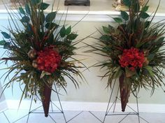 Greatwood Floral Designs Silk Flower Gallery - Wall Sconces with red hydrangeas & feather balls.