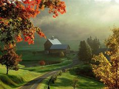 Autumn Colors barns | Autumn Fall Color Country Farm Wallpaper; brightly fall colored trees ...