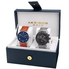 Amazon.com: Akribos XXIV Men's AK885SSB Quartz Movement Analog Display Watch Gift Set: Watches