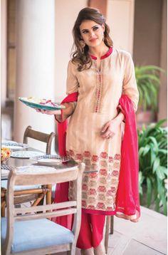 Semi-Stitched Beige and Red Designer Cotton Salwar Suit with Chiffon Dupatta - URB1B  to shop here: http://goo.gl/2kj3U8