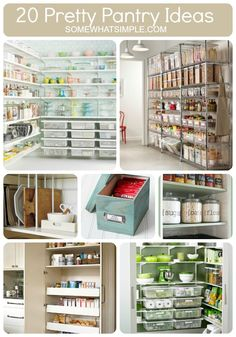 Somewhat Simple: 20 GORGEOUS Pantry Ideas! Really good organization ideas, like a box for mixes and trash bag rollers.