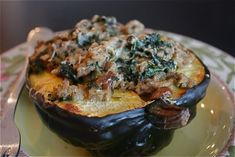 Stuffed Acorn Squash is one of my favorite meals.  I can't wait to try this stuffing!