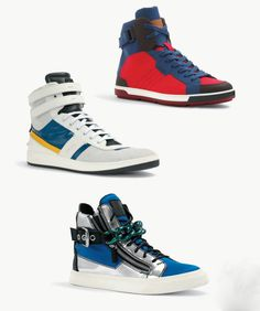 High Top Sneakers: Bally, Fendi, Guiseppe Zanotti.