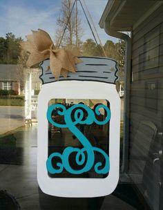 Hand Painted Mason Jar Door Hanger with by Cross Wreath, Mason Jar Flowers, Door Decorating, Door Decs, Painted Mason Jars, Holiday Themes, Diy Door, Paint Party, Door Hangers