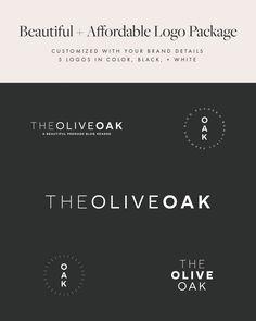 The Olive Oak Minimal Logo Design Package, wordpress theme, mood board inspiration, blog design idea, graphic design, branding, style blog, fashion, food blog design, food blog logo, style blog logo