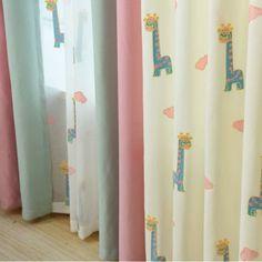 Cute Cartoon Curtains for Kids Bedroom Living Room Children Baby Boy Girls Room Nursery Curtains Beige & Pink, 1 Panel Giraffe Fabric, Giraffe Pattern, Baby Room Curtains, Kids Curtains, Aqua Rooms, Boy Girl Room, Curtain Styles, Cotton Crafts