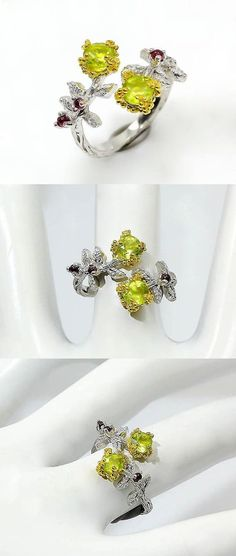 Gift Custom Ring, Anniversary rings for women Leaf Ring, Twig Branch ring, Green dainty ring, peridot botanical ring, August birthstone ring  This is an impressive botanical ring with two round genuine green peridot gemstones. The twig branch has many leaves with incrusted gemstones framing the most incredible green emerald in oval shape. The ring is custom made and unique! Custom and unique engagement ring that will bring joy every day.It will look amazing if you would like to wear it…