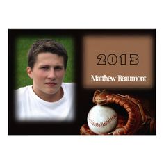 This fun and sporty graduation announcement is a modern twist on a classic look. Celebrate your Senior's love of baseball or even thier scho...