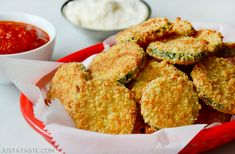 Skip the oil and preheat your oven for a family favorite Baked Parmesan Zucchini Chips that are easy cheesy crispy and healthy! Oven Fried Zucchini, Fried Zucchini Recipes, Parmesan Zucchini Chips, Zucchini Chips Recipe, Bake Zucchini, Veggie Recipes, Veggie Side Dishes, Side Dishes Easy, Main Dishes