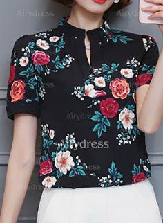 Floral Informal Poliéster Decote Alto Manga curta Camisas (1056629) @